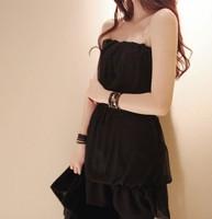 summer Vestido corset mini short saias femininas strapless chiffon women's pin up vintage dress corset cute saia