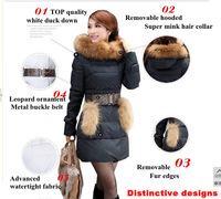 free shipping 2013 winter thick large fur collar down coat white duck feather women's long slim warm jacket coats S-XXL