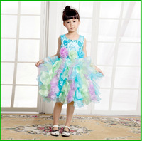 New Lovely Sweet Sequin Stunning Toddler Pageant Gowns Colorful Sleeveless Tulle And Satin 2014 Summer Girl Dress