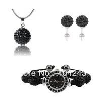 Newest fashion Shamballa Set With 10mm Disco Balls Shamballa Bracelet Watch/Earrings/Necklace Pendant Jewelry Set