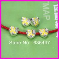 30PCS/LOT Heart Shape Yellow Ribbon Enamel Silver Plated Big Hole European Beads Breast Cancer Awareness Beads Fit Bracelet