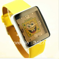Free Shipping Gift Fashion Brand Cute SpongeBob Kids Children Cartoon Silicone PU Leather Wristwatch Dial Casual Watch W73