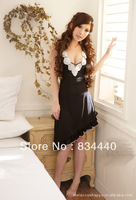 Sexy underwear transparent white V-neck halter dress temperament hypotenuse seduction sexy black gauze nightgown 8133