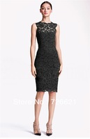 2013 New Arrival Fashion Sexy Women Summer Autumn Lace Sheath Mini Dress with Bowknot Lady Sleeveless Dress 4colors