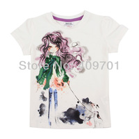 FREE SHIPPING K4012#Nova kids wear  printed modern girl carton summer short sleeve T-shirts for girls,2013 New Hot