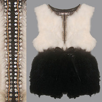 2013 Elegant REAL Rabbit Fur Jacket, Rhinestone Decorated Slim Waist Berber Fleece Patchwork Women's Fur Vest