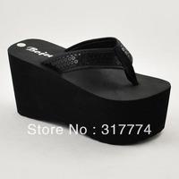 Women's super platform flip flops sandals sequin herringbone tape 9cm 101