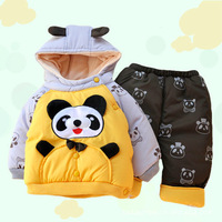 Free shipping!!! New Cute Panda Winter Super Thick Warm baby Boys hoodied Coat+Pants Girls Jacket Kids outfits  Clothing Set