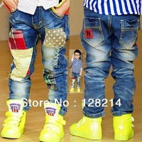Free Shipping 2013 Han Edition Fashion Boy Patch Jeans , 5 Size And Cheapest Hot Sale.