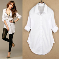 New 2014 Hot Womans Lady Women Sexy Perspective Classic  Boyfriend Wind White Shirt Loose Long Sleeve Tops Blouse Free shipping