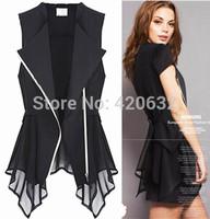 women chiffon blouse suit vest summer women clothing 2xl 3XL sleeveless tank vest lady Formal suit shirt coat outerwear retail