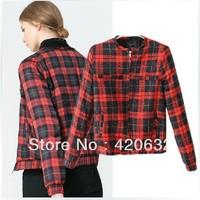 women's red plaid jacket gilrs outerwear slim blouses short jacket designer brand one piece retai women new 2014 spring coat