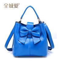 Free Shipping 2012 bow cowhide vintage genuine leather handbag cross-body one shoulder women's handbag women bag