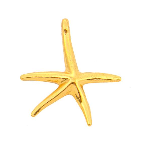 Free Shipping 24K Gold Starfish Charms Silver Plated Nautical Pendant fit Jewelry making Zinc alloy starfish 65pcs(China (Mainland))