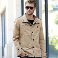 Brand 2013 Winter Mens Jackets And Coats Fashion Slim Jackets For Men Turn-down Collar Outerwear & Coats Mens Clothing Khaki