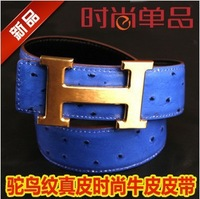 2013 wholesale brand belt ostrich grain leather belt popular men belt women leather belt