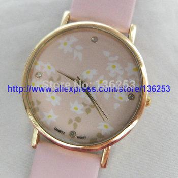Fashion Designer Leather Clock GENEVA Ladies Flower Quartz Watch Luxury Rhinestone Watches For Woman Girl Present 100pcs/lot