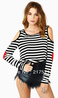 Free Shipping New Arrive Vogue Fashion Cotton T-shirts Women Streetwear Stiped Red Heart Print Cutout Off Shoulder Tops 071704