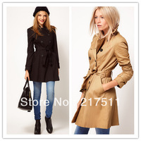 Free Shipping New Arrive Vogue Fashion Women Trench Double Breasted Slim Waist Lacing Belt Brief Long Coats Kahaki/Black  072017