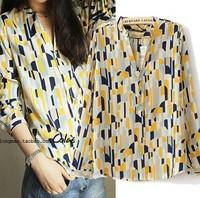 Free Shipping za** Brand Blouses Shirt Women Chiffon Dress Crochet  Flowers  Printed  Plus size Clothing Blusa autumn -summer