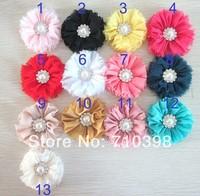 Trail order girl chiffon flower rose flower with rhinestone pearl Button hair accessory 60pcs/lot baby hair headband garment DIY