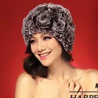 2013 new  Flower design rex rabbit hat Genuine Women's Winter Rex rabbit Fur cap
