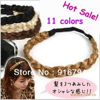 Factory price!Wholesale Hot Sale 11colors Girl/Women Hair Accessories hairband Elastic Headband Neat Wig Braid Headwear,Size M