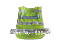 Free Shipping+Signal Light Vest+ Lightweight black mesh vest with 4 groups lamp+bright LED