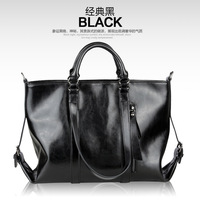 Free shipping 2013 new leather handbags leather motorcycle bag big European and American atmospheric oil- wax leather bag large