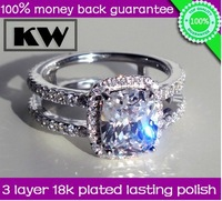 Plated 18K RING Luxury Quality 2 Carat Cushion Cut synthetic diamond Ring For Women,Halo Wedding & Engagement Anniversary Rings