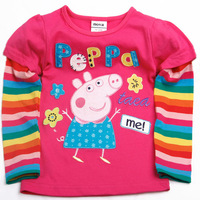 Free shipping Retail Brand Nova Kids Peppa pig long sleeve t-shirts