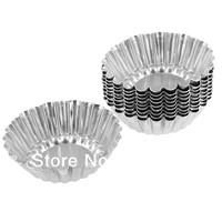 Wholesales Retail Aluminum 12Pieces 2-1/2 Inch Eggtart Tarlet Pan Pie Mould Tart Tin Egg Tart Pan