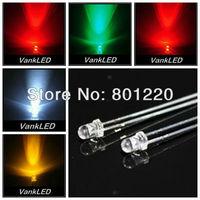 5Valuesx1000pcs=5000pcs 3mm Round Ultra Bright Red/Green/Blue/Yellow/White LED Lamp kit