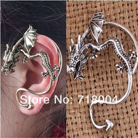 Vintage Fly Dragon Punk Design Womens Cuff Earrings Antique Silver Gold Trendy Earring Accessories Wholesale Christmas gifts 090