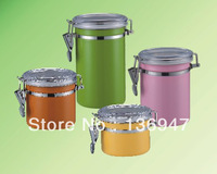 Free Shipping High Quality Colour Stainless Steel 4PCS set of dampproof Storage Pot/Jar/Container-sugar,tea,coffee,Gen-seng,etc