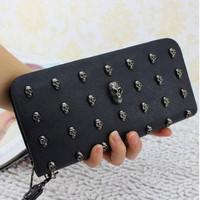 2014 new design Wallet female long design vintage skull zipper mobile phone wallet women's wallet
