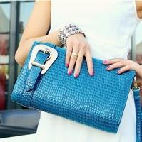 2014 women's handbag crocodile pattern handbag women's fashion women's bags one shoulder cross-body day clutch