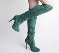 2014 Wholesale new  fashion black pointed toe lace-up long boots winter warm women fashion red sole stiletto knee boots