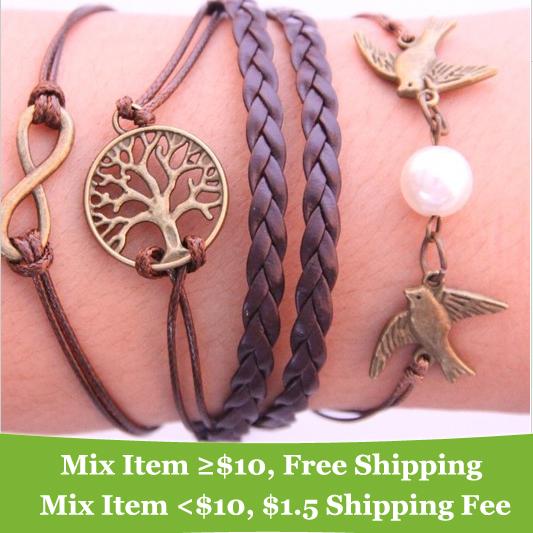 Fashion Vintage Infinity Cross bird tree Leather Multilayer bracelet jewelry for women 2013(China (Mainland)