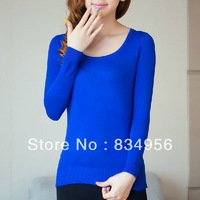 2013 autumn outfit render unlined upper garment of cultivate one's morality long-sleeved round collar pure color knit sweater