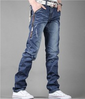 New Hot 2013 Men's Jeans Outside Zipper Slim Jeans Brand Pants for Men Cotton Free Shipping