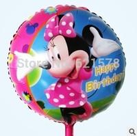 10pcs/lot 18 inch  round shape minnie mouse ballon happy birthday baloon  mylar helium Balloons for Birthday Party Balloons