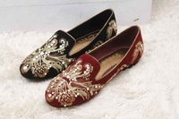 Original Top Quality International Designer Brand 2013 Autumn Latest Embroidery Genuine Leather Lady Fashion Flat Shoes
