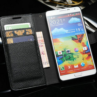Vintage PU Leather Wallet Stand Case For Samsung Galaxy Note 3 N9000 Litchi Pattern With 3 Card Holder 1 Bill side Drop Ship