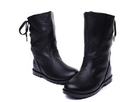 8682 2013 Classic Korean Style Leather Lace Up Back Flat Knight Short Ankle Boots Female Boots Genuine Cow Leather