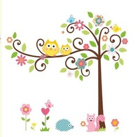 Free shipping,Hotsale 120*110cm Cute Owl Tree Peel & Stick Wall Decal Kindergarten DIY Art Vinyl Wall Stickers Decor Mural