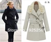 HOT SALE winter 2014 women black and white wool blends women fashion warm coat long sleeve rabbit hair collar thick  long coat
