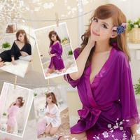 Lady Sexy Satin Lingerie Chiffon Sleepwear Nightdress Robes Lace G String Gown