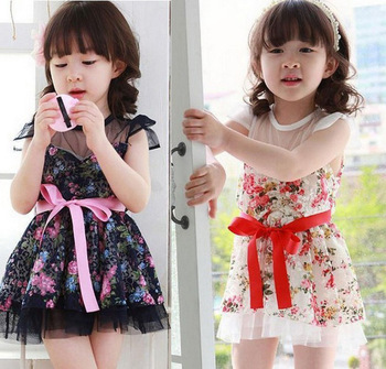 2013 Kids Toddlers Girls White Blue Flower Princess Tutu Mini Lovely Dress 2 7 T Christmas