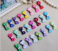 Free Shipping 2014 Wholesale Polka Dot/Striped Bows With Pearls Hair Clips Cute Girls Hairclips Childrens Accessories